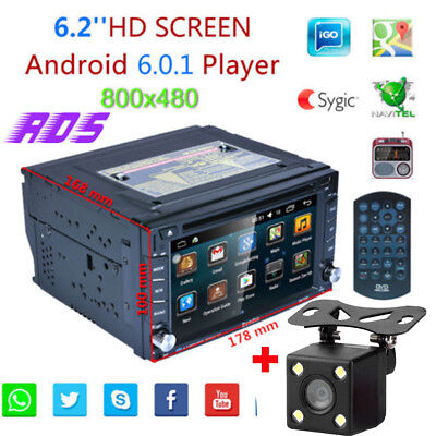 2 DIN DVD GPS Autoradio Stereo RDS Android 6.0 Bluetooth AUX USB WIFI+Camera EU