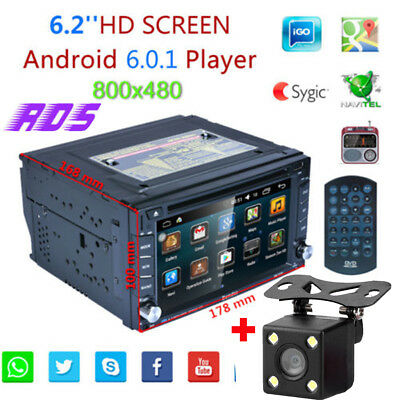 "6.2"" 2 Din WiFi Navigatore Autoradio GPS Car DVD Player iPod MP3 TV CD USB +Map"