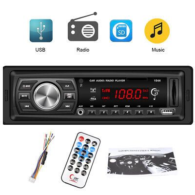 12V 1 DIN In-Dash Estéreo MP3 Reproductor Coche Radio IR FM AUX-IN SD MMC USB ES