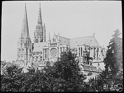Glass Magic Lantern Slide CHARTRES CATHEDRAL C1900 PHOTO FRANCE