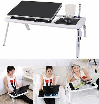 Portable Adjustable Foldable Laptop Desk Table Stand Bed Notebook Tray+ Fan BP