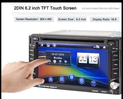 "6.2"" Universal 2Din Coche Estéreo MP3 HD DVD Reproductor Bluetooth GPS AUX FM TV"