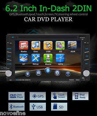"6.2"" GPS Navi Système Bluetooth Voiture Car Navigation Camping Carte DVD VCD MP3"