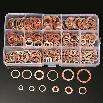 280pcs Kit 12 Sizes Assorted Solid Copper Gasket Washers Seal Flat Ring W/ Case