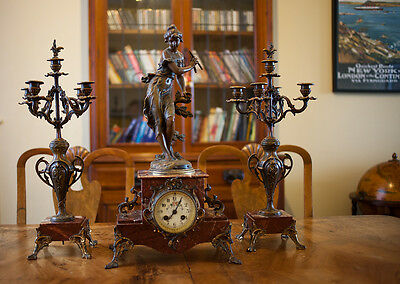 C1890 8 day French Mantle Clock with Garniture/Candelabra - Ferrand - CH Vely