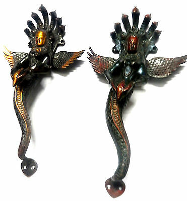 Snake Lady Shape Handmade Antique Vintage Style Brass Door Handle Home Decor BA1
