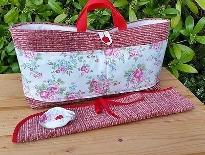 Knitting Bag + Pin Roll, Cath Kidston Fabric Pockets, 3 Inner Pockets, Hand Made