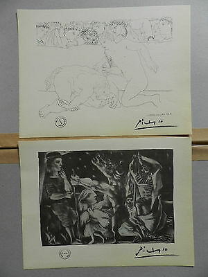 2 Picasso vintage Vollard Suite Lithograph rare nice art prints hand signed 1956