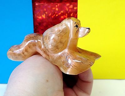 Cocker Spaniel  figurine dog stone carving hand painted natural stone Russia