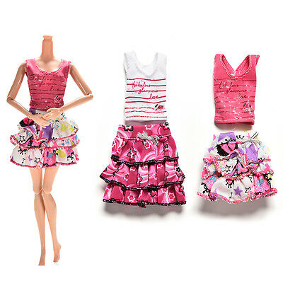 2 Pcs/set Short Skirt T-shirt for Barbies Color Random Dolls Accessories AH
