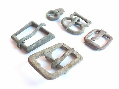 Roman to Medieval Period ~lot of five Bronze Belt & Strap Buckles ~ Great Patina