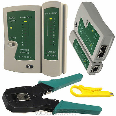 RJ45 Network Cat6e Cable Tester Ethernet Crimping Crimper Stripper Hand Tool Kit