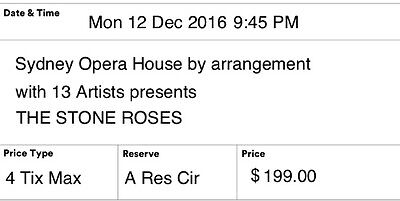 FACE VALUE 2 tickets to The Stone Roses Sydney Monday 12 December