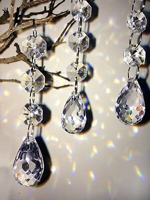 30Pcs Acrylic Crystal Beads Garland Chandelier Hanging Wedding Party Home Decor