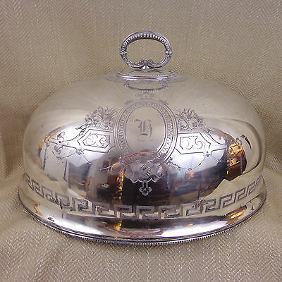 Antique Silver Plated Meat Food Dome Cover Victorian Cloche Large Turkey Meat
