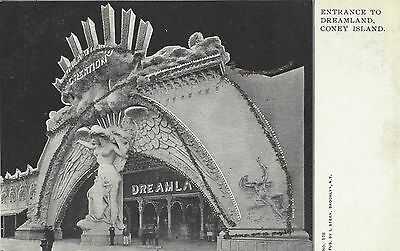 CONEY ISLAND, NEW YORK Entrance to Dreamland Glitter Decorated Unposted