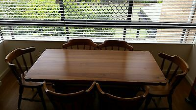 Solid Pine Dining Table & Six Chairs