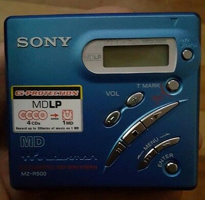 Sony MZ-R500 Portable Mini Disc Player in Blue