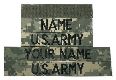 2 piece ACU Custom Name & US Army Tape set with Fastener or Sew-On, Military