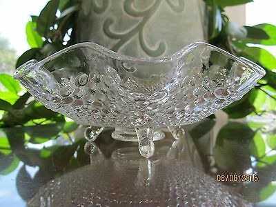 """Fenton Glass? Fenton's #1932 Line Hobnail Clear 3 Footed Bowl 7"""""""
