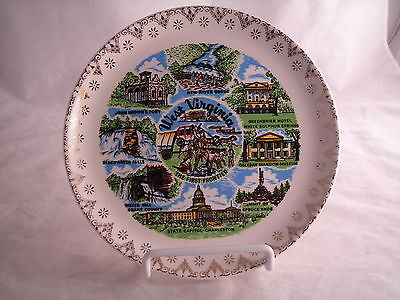 """West Virginia Souvenir State  Plate Vintage 7 1/4"""" First Frontier 1962"""