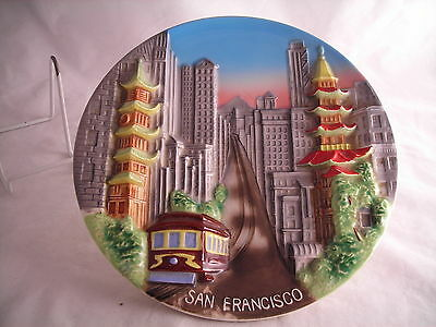 """California Souvenir State  Plate Vintage Molded Cable Car 10 1/8"""""""