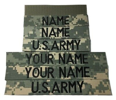 3 piece ACU Custom Name & US Army Tape set with Fastener or Sew-On, Military