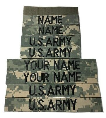 4 piece ACU Custom Name & US Army Tape set, with Fastener or Sew-On, Military