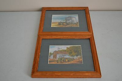 2 USED FRAMED 8 x 10 Poster Prints JOHN DEERE TRACTORS WALL HANGER