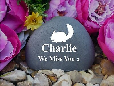 Pet Memorial Pebble (Stone effect) - Personalised - Weatherproof - Chinchilla