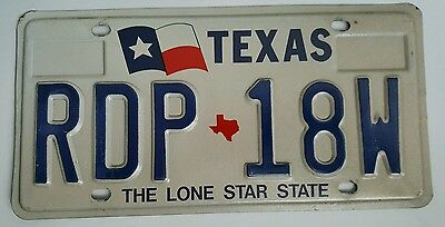 Texas expired license plate tag ( RDP 18W )  The Lone Star State