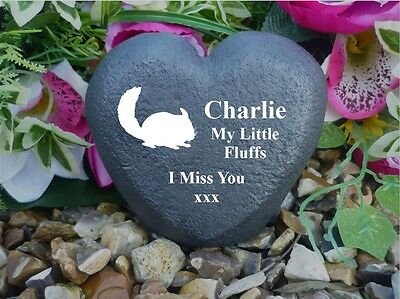 Personalised Heart (Stone Effect) - Weatherproof - Memorial - Chinchilla