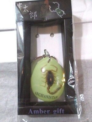 Greenish Yellow Sealed New Old Stock Scorpion Keychain In Lucite Afghanistan Nip