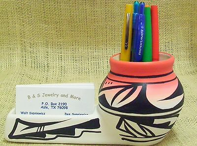 Cedar Mesa Native American Made and Painted Pottery Indian Rainbow Desk Caddy