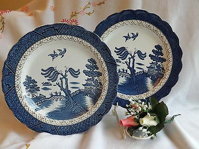"""Stunning Vintage Pair Of Booths Real Old Willow 10"""" Dinner Plates"""