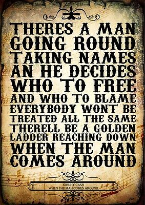 Johnny Cash When The Man Comes Around Poster Music Lyric A4 Typography Art Print