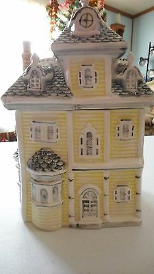 VICTORIAN HOUSE~Ceramic Cookie Jar Light Yellow With Black Roof Raised Design