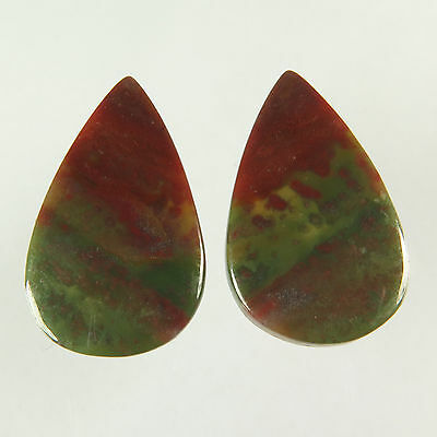 Royal Natural BLOODSTONE 28x17 mm 1 Pair Pear Flat Gemstone 33.00 Cts Bestseller
