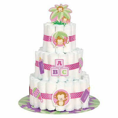 Girl Monkey Baby Shower Diaper Cake Kit, 25pc