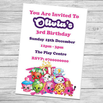 10 x Shopkins Personalised Party Invites Birthday Invitations With Envelopes