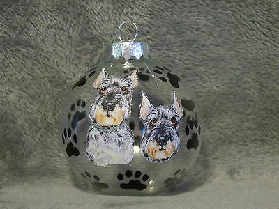 Hand Made Schnauzer Glass Christmas Ornament / Ball