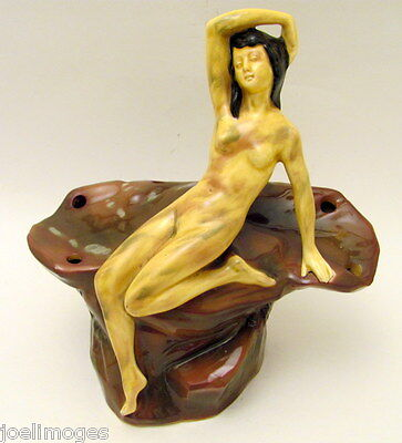 Rare Hand Painted Antique German Lady Nude Flower Frog Early 1900s