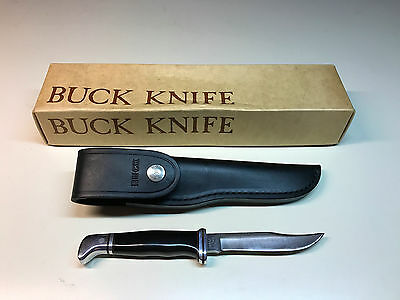 Old Vtg NOS BUCK #102 Fixed Blade Hunting Fighting Knife W/Box & Sheath USA
