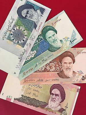 Set of 4 Iran Iranian Banknotes Paper Money 20,000 10,000 5,000 2,000 Rial UNC
