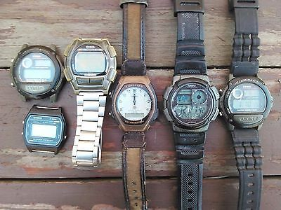 CASIO MENS DIGITAL WATCH LOT - PARTS REPAIR / WORKING - LOT of 6