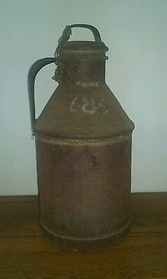 "Antique vintage metal milk dairy can jug 3 gallons  19"" tall, with chained top"