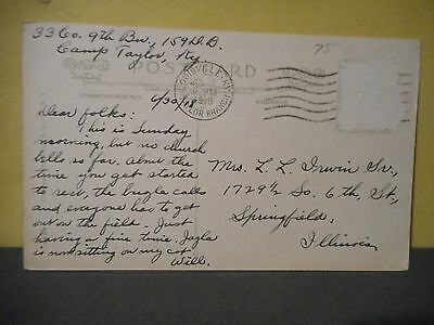 WWI Postcard Camp Taylor Kentucky to Springfield Illinois,33 Co,9th Battalion