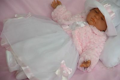 Baby Girls Dress White Pink Christening Flower Girl with Hat Long Sleeve Shrug