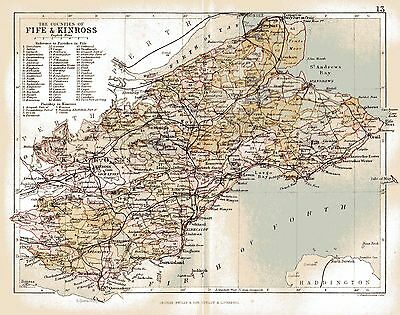 An antique map of the County of Fife & Kinloss,Scotland dated 1884.