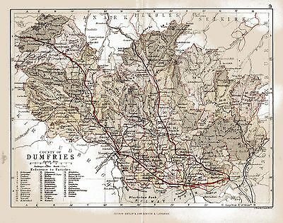 An  antique map of the County of Dumfries, Scotland dated 1884.